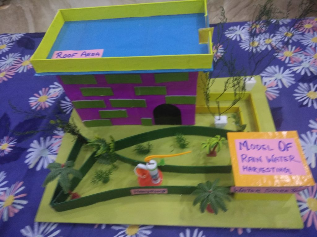 working model of rainwater harvesting for school project